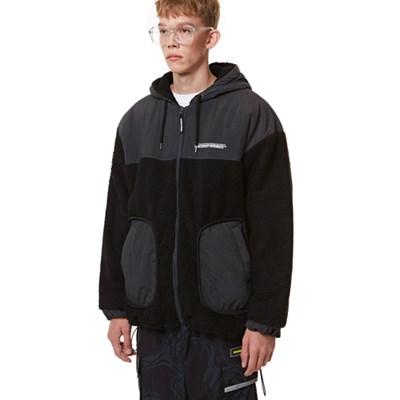 Heavy Fleece Hood Zip-up BLACK