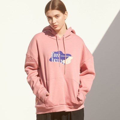 Logo Patch Oversized Hoodie (Indi Pink)