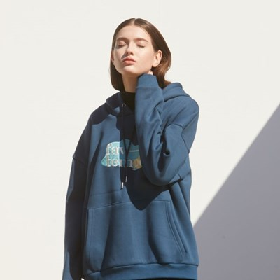 Logo Patch Oversized Hoodie (Navy)
