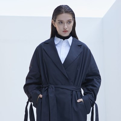 Long Robe Trench Coat (Dark Navy)