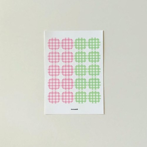 Check sticker - pink + yellow green