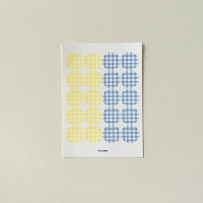 Check sticker - lemon + blue gray