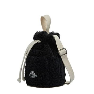 로디스 뽀글이 양털 버킷백 크로스백 블랙