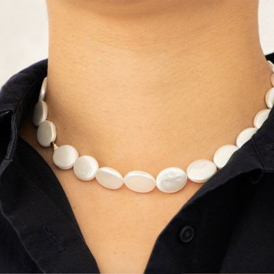 white almond necklace
