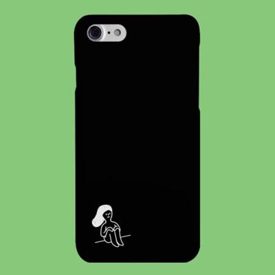 [헬로래빗]쭈글게으름 여자블랙 하드 핸드폰케이스