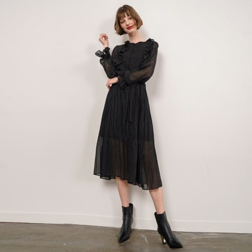 Dorothy Dot Frill Dress_Black_(38535)