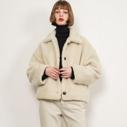 Teddy Fur Crop Jacket_Ivory_(38533)