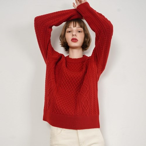 Bonnie Cashmere Cable Kint_Red_(38527)