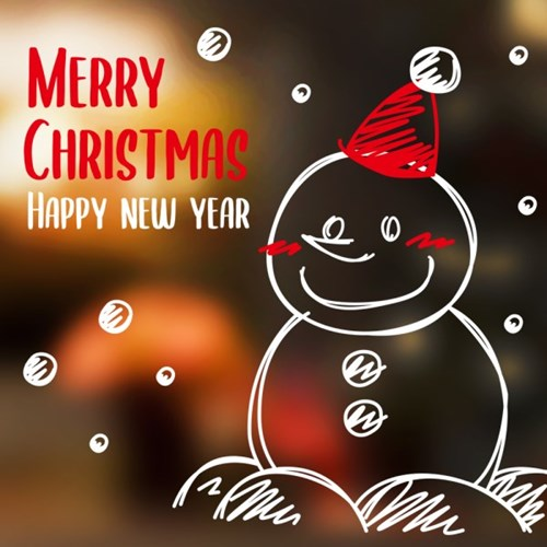 크리스마스 눈꽃 쇼윈도우 스티커 해피눈사람