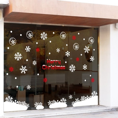 크리스마스 눈꽃 쇼윈도우 스티커 눈 내리는 밤