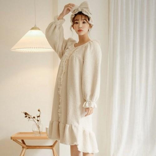 루나루즈 플리에 양털 원피스 수면잠옷
