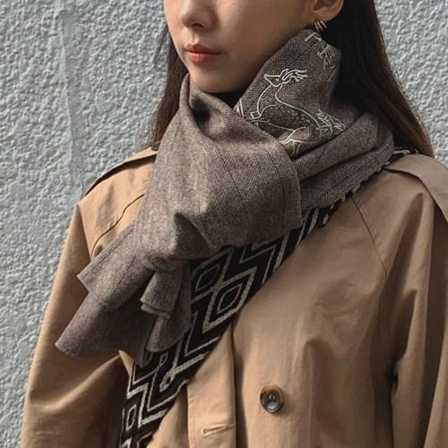 십장생도(十長生圖) 자수 머플러(wool) - deer brown
