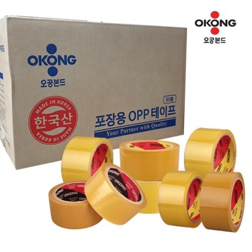 박스 도매 국산 오공 박스테이프 투명 황색 모음