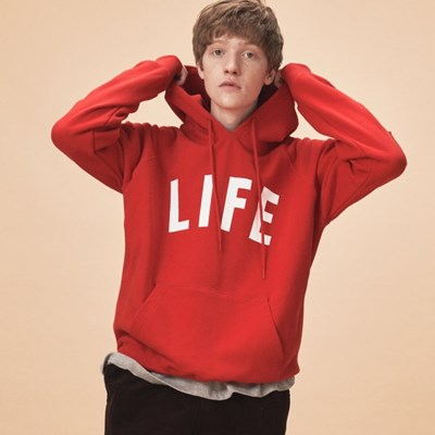 LIFE LETTER HOODIE_RED_(1483106)