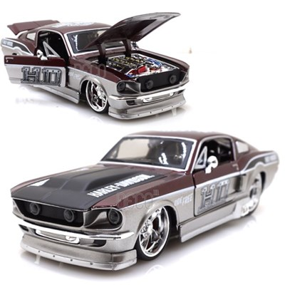 1:24 1967 할리 데이비슨 포드 머스탱 GT 미니카