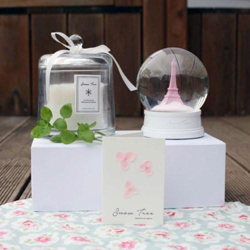 감성 스노우볼 핑크에펠 + 천연 캔들 셋트