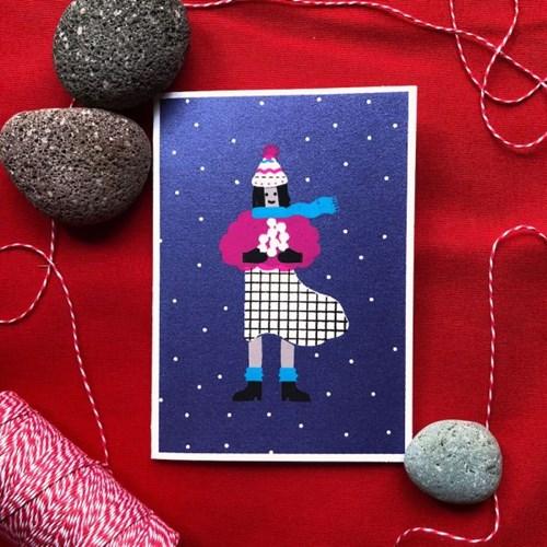 스노우볼 소녀 크리스마스 카드