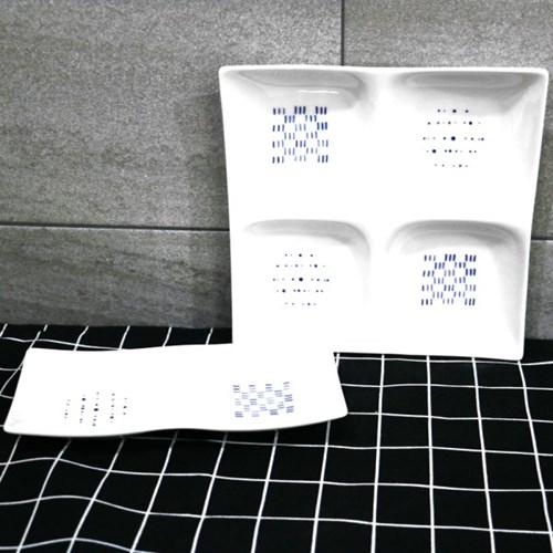 한국도자기 블루스케치 나눔접시 1p 네칸접시