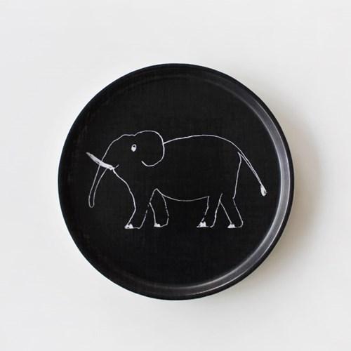 포그린넨 트레이 원형 코끼리 블랙