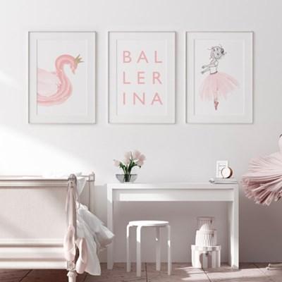 핑크발레리나 아이방 액자 그림 3종