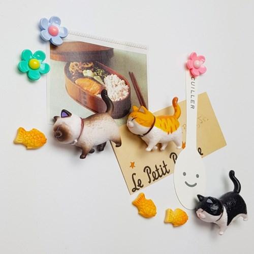 고양이 자석세트(고양이1,플라워1,붕어빵1)