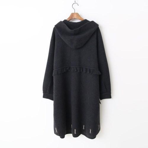 Wool Hood Warm Knit Long Coat