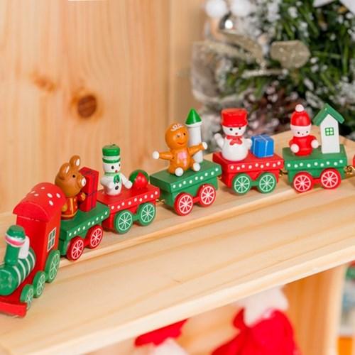 크리스마스 목재장식 7단기차 [레드앤그린]_(11910315)