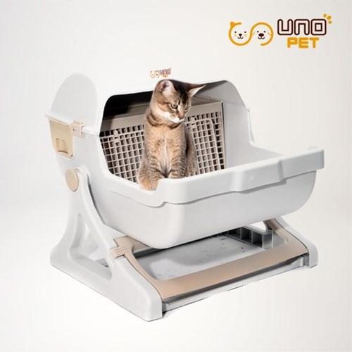 반자동 고양이화장실 모래 분리형 - 베이지브라운