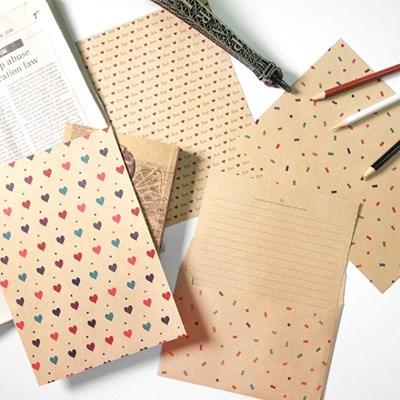 크라프트 패턴 편지지 - 패턴 4set