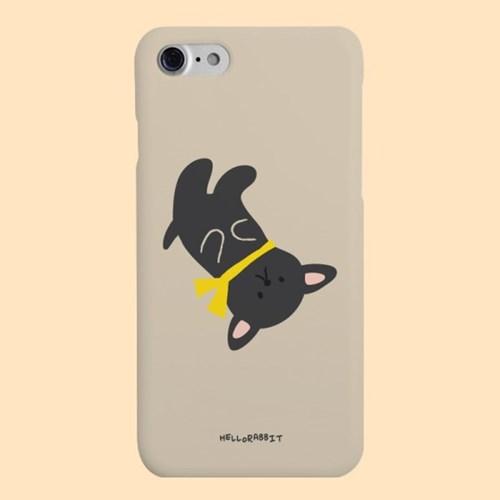 [헬로래빗]목도리강아지 블랙 하드 핸드폰 케이스