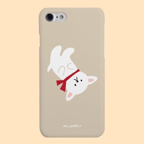 [헬로래빗]목도리강아지 화이트 하드 핸드폰 케이스