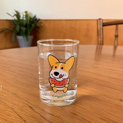 수박먹는 코기맨 유리컵