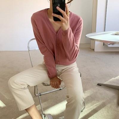 하늘 여성 캐시미어 브이넥 이너 가디건 (소라색 핑크)