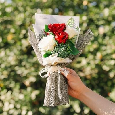 [메세지픽+쇼핑백증정] 메이지 그린리프 장미 비누꽃다발