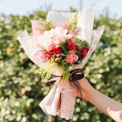 [메세지픽+쇼핑백증정] 줄리앤 비누꽃 수국 꽃다발_핑크