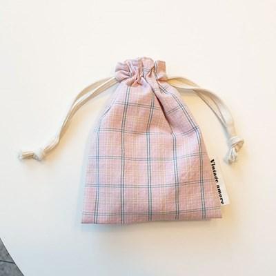 pastel check string pouch_핑크
