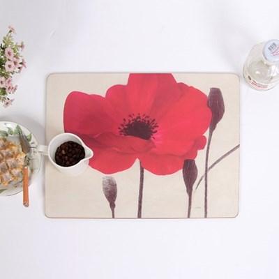 빈티지 레드 플라워 보태니컬 식탁매트 4Pset