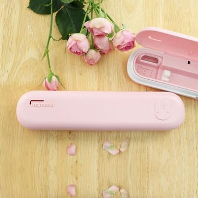 마이래빗 휴대용 칫솔살균기-핑크/AA건전지2개+USB케이블포함