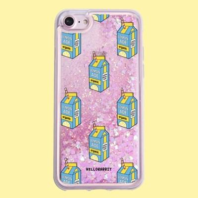 [헬로래빗]레몬에이드 패턴 아쿠아 글리터 핸드폰 케이스