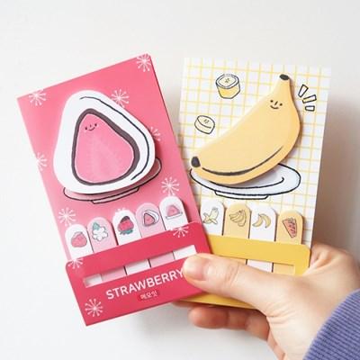 부리 메모잇 2종(딸기,바나나)
