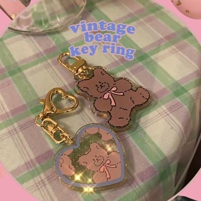 [뮤즈무드] vintage bear key ring (키링)