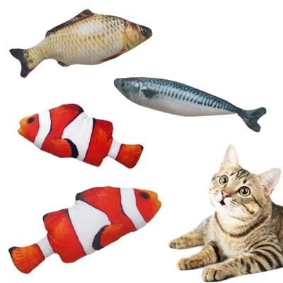 고양이 장난감 캣닢쿠션 물고기인형 스트레스 해소용