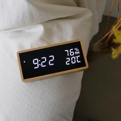 리얼우드 LED 탁상시계 온습도 표시