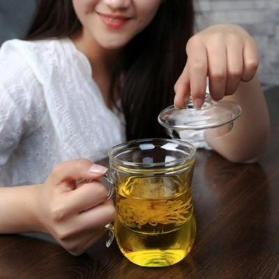 마리안느 티머그 유리잔(400ml)/찻잔 머그컵 유리머그