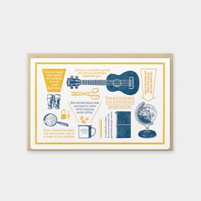 [Travel Tools Collection] Letterpress Card Blue
