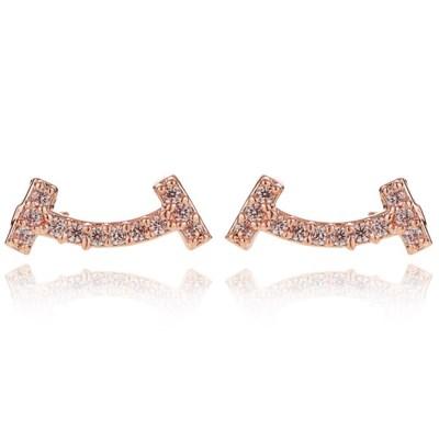 14K 스윗스마일 골드핀 귀걸이(핑크골드)