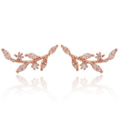 14K 스노우브렌치 골드핀 귀걸이(핑크골드)