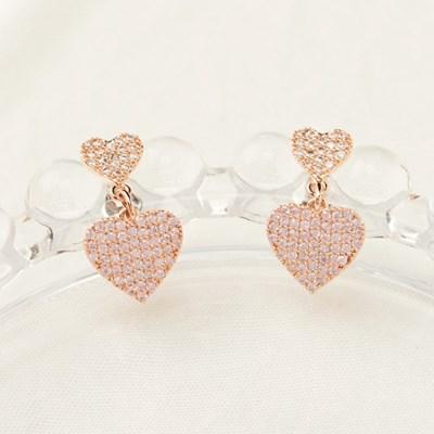 핑크 더블하트 큐빅 귀걸이