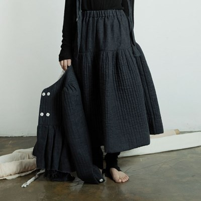 퀼티드 린넨 플레어 스커트 : Quilted linen flare skirt - Navy