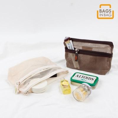 메쉬 더블포켓 파우치 BMS-MPNK 립스틱'화장품'케이블&s